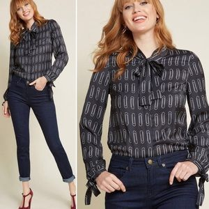 Modcloth paper clips black long sleeve blouse M